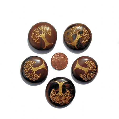 Tiger Eye Tree of Life Crystal Flat Palm Stone